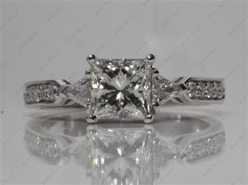White Gold  Three Stones Diamonds Rings