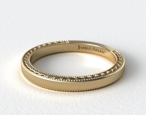 etched rope wedding band 14k yellow gold allen