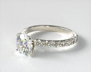 073651c22 14K White Gold 0.32ct French Cut Pave Diamond Engagement Ring