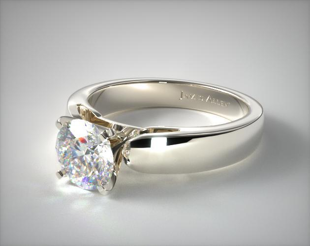 38mm Rounded Cathedral Solitaire Engagement Ring