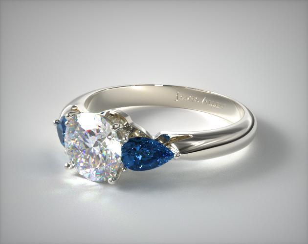three pear shaped blue sapphire engagement ring