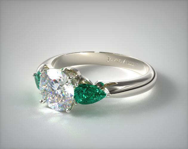 three pear shaped emerald engagement ring platinum