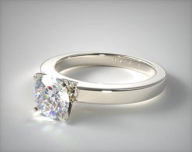 Flat Edged Diamond Solitaire Engagement Ring 14K White Gold