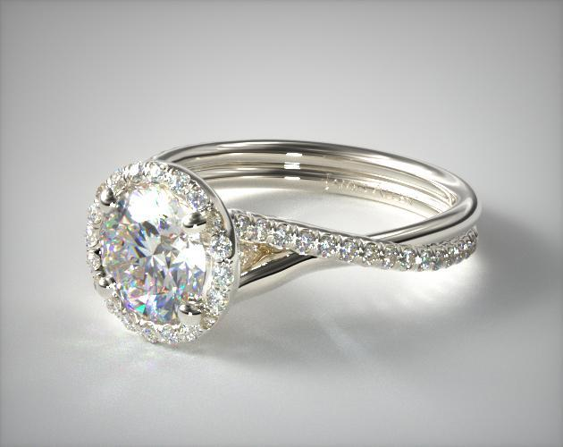 White Gold Halo Engagement Ring Cluster Floating