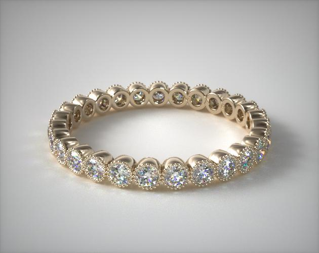 Wedding Rings Womens Stackable 14k Yellow Gold Milgrain