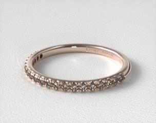 Matching Bands 14K Rose Gold 015CTW Thin Pave Set Diamond Wedding Ring