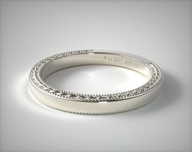 etched rope wedding band 14k white gold allen