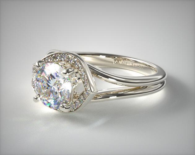 asymmetrical diamond love knot engagement ring 14k white