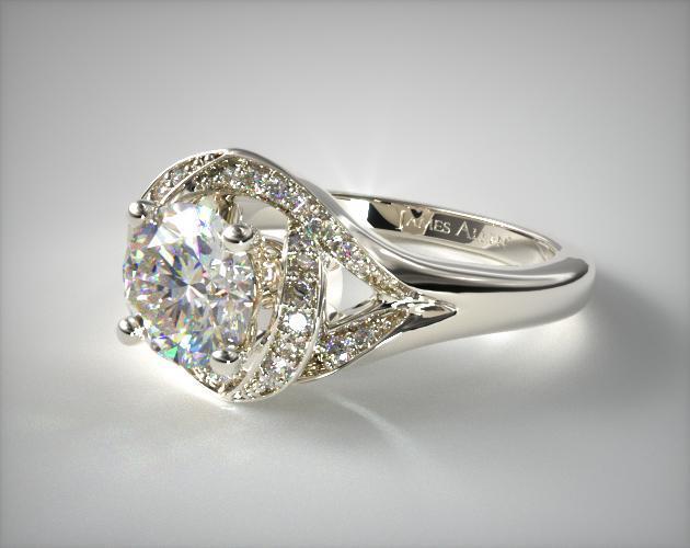 engagement rings vintage 14k white gold love knot