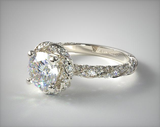 Twisted Pave Halo Engagement Ring 14K White Gold