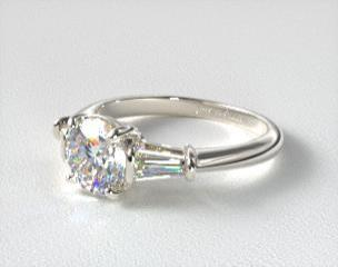 engagement ring side round baguette sylvie bridal center diamond rings bold tapered