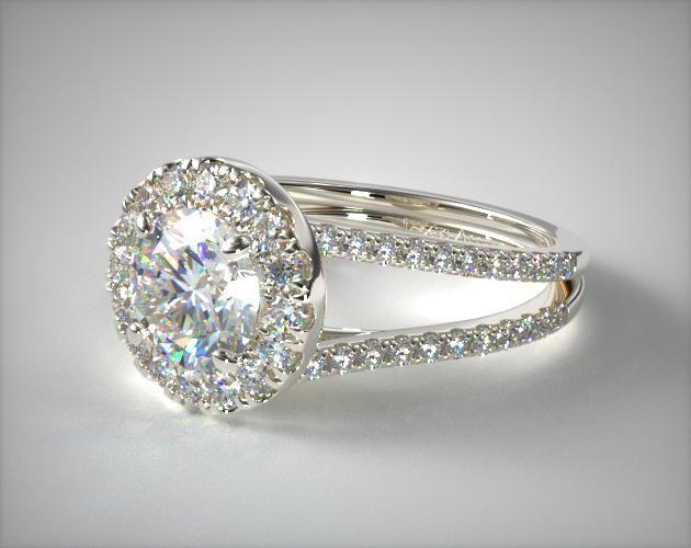 Engagement Rings Halo 14k White Gold Open Split Shank