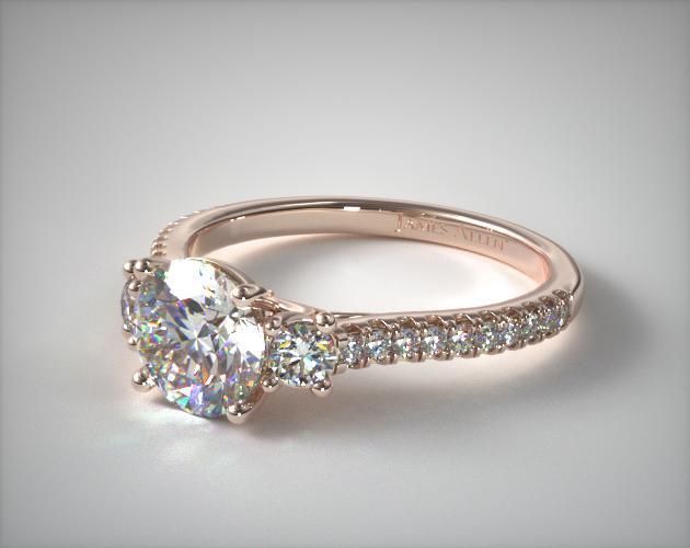 Three Stone Micro Pave Diamond Engagement Ring