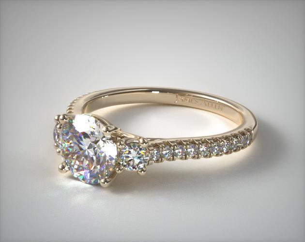 three micro pave engagement ring 14k