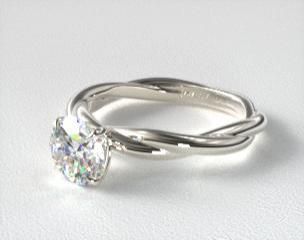 DETAILS 14K White Gold Rope Solitaire Engagement Ring