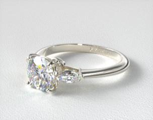 stone wedding three rings engagement gold in anniversary diamond halo white ring ctw