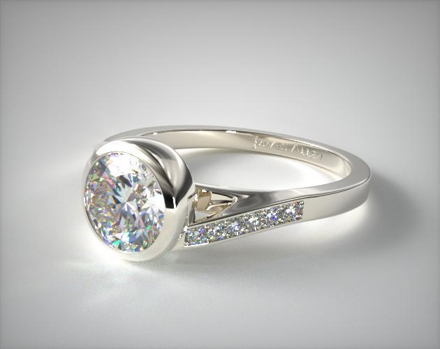 Pave Bypass Bezel Set Diamond Engagement Ring 14k White