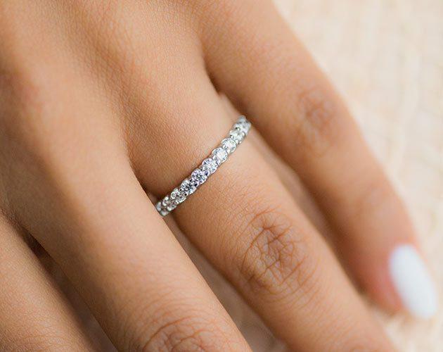 8bdbbc5a3b60 14K White Gold Ladies 1.00CTW.  Contoured Common Prong Diamond Eternity Ring