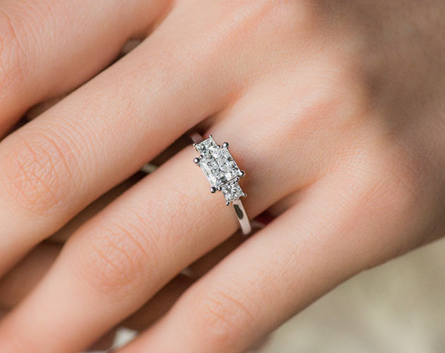 83deb9656d7ff 14K White Gold Three Stone Princess Shape Engagement Ring by Martin Flyer