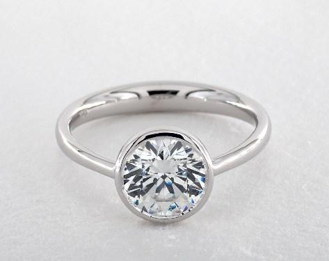 Bezel Set Solitaire Engagement Ring Platinum James