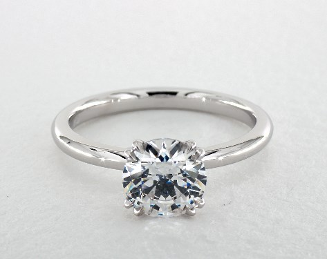Double Claw Prong Solitaire Basket Engagement Ring 14k