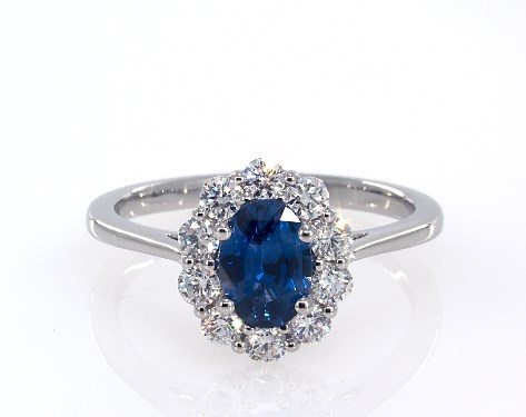 Fine Jewelry Gemstone Rings Platinum Oval Sapphire And