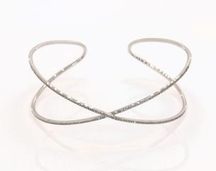 14k White Gold Criss Cross Diamond Cuff Bracelet