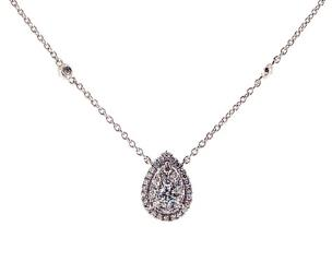 3b8b80b2601 14K White Gold Pear Halo Cluster Necklace