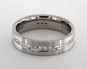 f3e8e1a0a9b 14K White Gold 6mm Etched Channel Set Diamond Wedding Ring