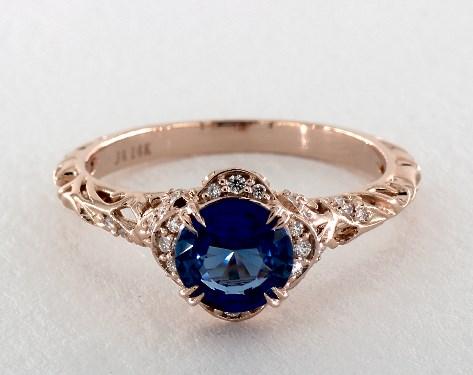 1.41 Carat Round Cut Vintage Engagement Ring in 14K Rose Gold