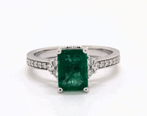 630ef5a0825a6 1.72 Carat Emerald Cut Side stones Engagement Ring in 18K White Gold