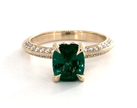 1 55 Carat Cushion Cut Pave Engagement Ring In 18k Yellow Gold