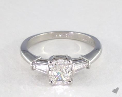 1 00 Carat Cushion Cut Side Stones Engagement Ring In Platinum