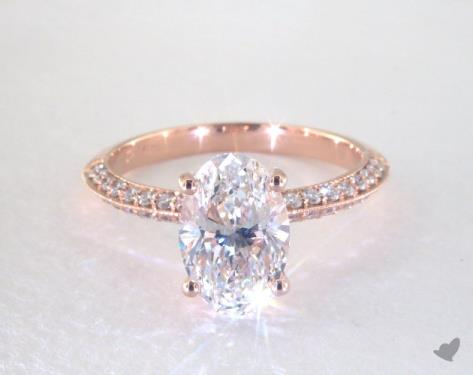 2 03 Carat Oval Cut Pave Engagement Ring In 14k Rose Gold
