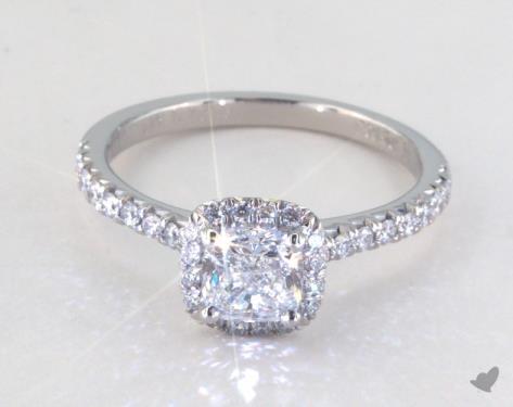 0 80 Carat Cushion Cut Halo Engagement Ring In Platinum