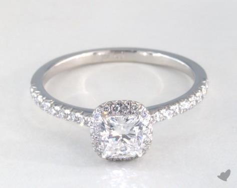 0 82 Carat Cushion Cut Halo Engagement Ring In 14k White Gold
