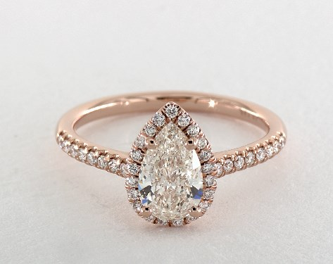1 01 Carat Pear Shaped Halo Engagement Ring In 14k Rose