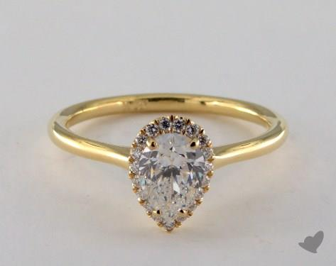 0 90 Carat Pear Shaped Halo Engagement Ring In 18k Yellow Gold 1600707