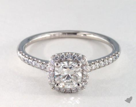 0 73 Carat Cushion Cut Halo Engagement Ring In Platinum