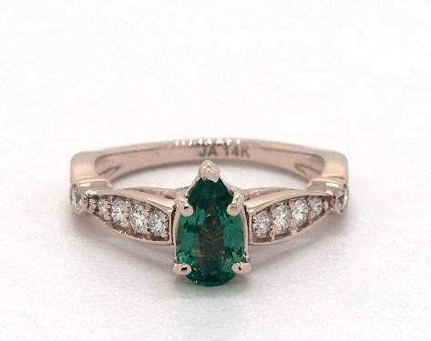 0.52 Carat Green Emerald Pear Shaped Vintage Engagement Ring in 14K Rose  Gold