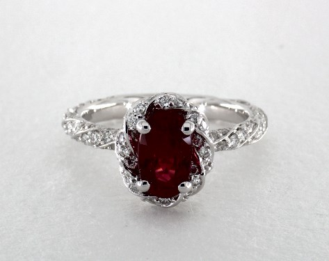 1 60 Carat Ruby Oval Cut Halo Engagement Ring In 18k White