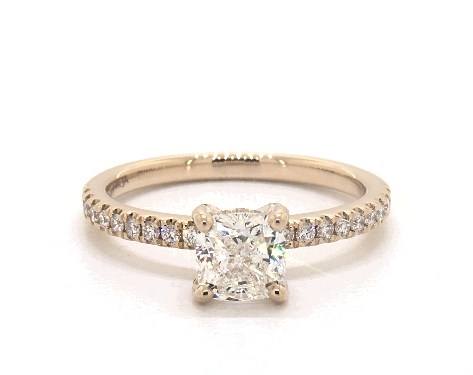 1.02 Carat Cushion Modified Cut Pave Engagement Ring in 14k Yellow Gold