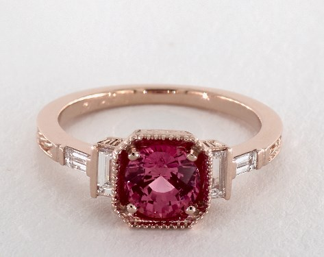 a25505d4b3d24a 1.27 Carat Pink Sapphire Round Cut Vintage Engagement Ring in 14K ...