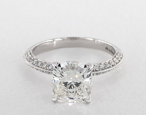 2 31 Carat Cushion Cut Pave Engagement Ring In 14k White Gold