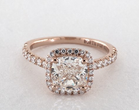 1 81 Carat Cushion Modified Cut Halo Engagement Ring In 14k Rose Gold