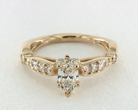 0.51 Carat Marquise Cut Vintage Engagement Ring in 14K Yellow Gold