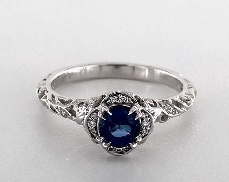 0.90 Carat Round Cut Vintage Engagement Ring in 14K White Gold