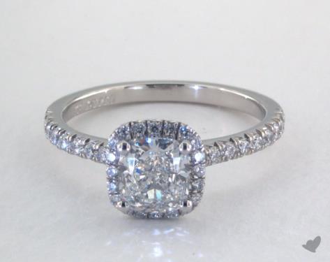13399defa9241 1.01 Carat Cushion Cut Halo Engagement Ring in Platinum