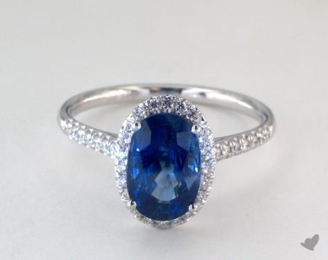 3 06 Carat Blue Sapphire Oval Cut Halo Engagement Ring In