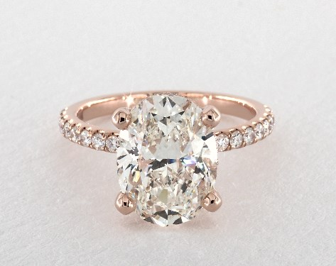 3 16 Carat Oval Cut Pave Engagement Ring In 14k Rose Gold